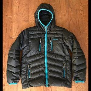 Boys L Marmot 700 Fill Down Hooded Coat Black